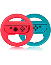 Steering Wheel for Nintendo Switch Controller, PowerLead 2 PCS Racing Wheel Compatible with Mario Kart, Game Controller Wheel for Nintendo Switch Remote Game(Red & Blue)