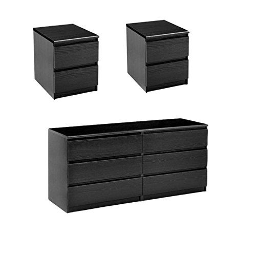 Home Square 3 Piece Set with 6 Drawer Double Dresser and 2 Night Stands in Black Woodgrain by Home Square