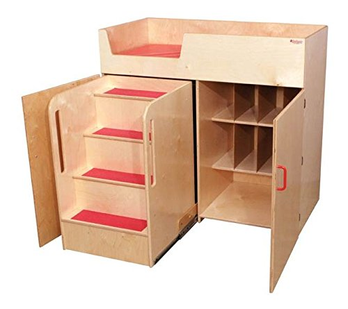 Healthy Kids Colors WD21075R Strawberry Red Deluxe Changing Table with Safety Steps by Wood Designs