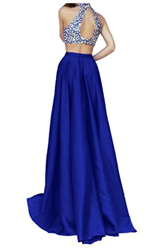 Pieces Party High Blue Dresses Prom Two Angela Gowns Neck Women's Beaded wX7qBqAZ