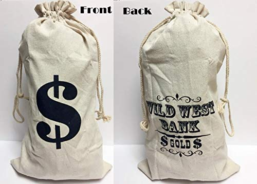 happy deals Western Money Bag - Large - Money Sign on One Side- Wild West Bank Gold on The Other 19 x ()