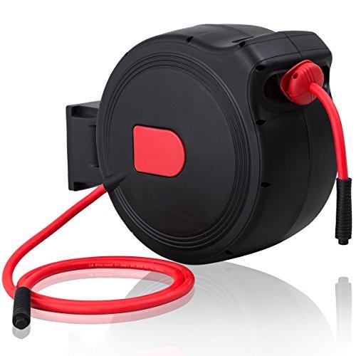 50' Air Hose Reel - Goplus Retractable Air Hose Reel w/ Lock Mechanism, 3/8 in, Compressor Hybrid Hose, 300PSI (50ft)