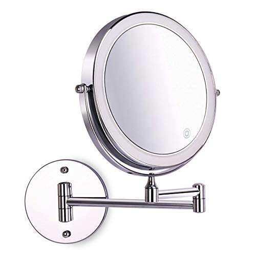 Amelar 8 Inch Wall Mounted Makeup Mirror Adjustable LED Light Touch Screen 1X/10X Magnifying Two Sided 360° Swivel…