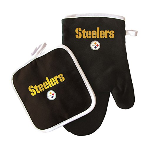 Price comparison product image Oven Mitt and Potholder Set - NFL - Pittsburgh Steelers - NFL Team Logo Home Kitchen Indoor Outdoor BBQ Picnic