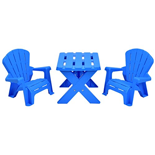 Costzon Kids Plastic Table and 2 Chairs Set, Adirondack Chair for Indoor & Outdoor Garden, Patio, Beach, Home, Toddlers Boys & Girls Activity Craft Table Set (Blue)
