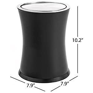 """Bennett """"Swivel-A-Lid"""" Small Trash Can, Metal Attractive 'Center-Inset' Designed Wastebasket, Modern Home Décor, Round Shape (Black)"""