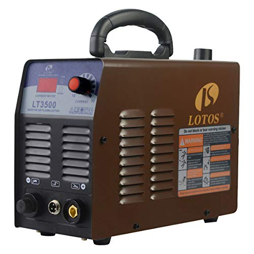 - Lotos LT3500 35Amp Air Plasma Cutter, 2/5 Inch Clean Cut, 110V/120V Input with Pre Installed NPT Quick Connector, Portable & Easy Quick Setup Metal Cutter