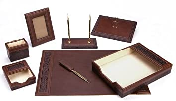 Majestic Goods Office Supply Leather Desk Set, Brown (W940)