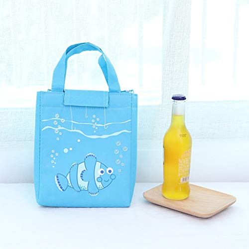 Juner Insulated Lunch Box or Soft Cooler, Heat-Sealed, PVC-Free Liner, Water Resistant, Velcro Closed,Fish Pendulum High Capacity (Sky Bule) by Juner (Image #2)