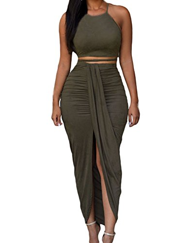 Womens Sexy Cotton Sleeveless Slit Two Piece Maxi Skirt Set S Olive