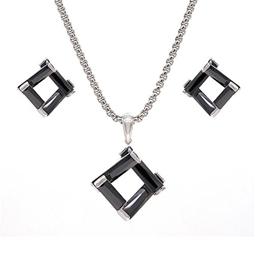 Square Design CZ Jewelry Set Necklace & Earrings AAA Cubic Zirconia For Women Party Prom (Black)