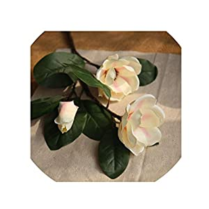 crystal004 Artificial Flowers 3 Head Silk Magnolia Flowers for Home Living Room Decor Fake Flowers Wedding Party Supplies Garden Decoration,Champagne 19