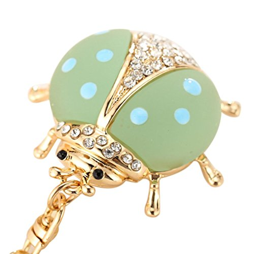Lanhui Animal Series Cute Ladybug Modeling Key Chain Creative Girls Bag strap Ornaments upscale car key ring (Series Gold Plated Glass)