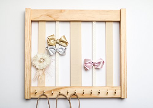 Med Oak Frame - Pine Wood Hair Clip Bow Organizer & Headband Holder/Wood Ribbons Hooks/Large Organizer Handmade/High Quality/Nursery Girls Room Decor/(beige ivory ribbon hook/on Med)