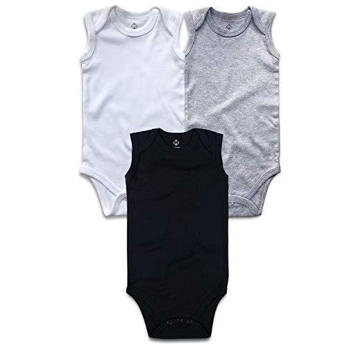 - OPAWO Unisex Baby Sleeveless Bodysuits Pack of 3 Multiple Color Lap Shoulder Bodysuit (Black/White/Gray, 6-9 Months)