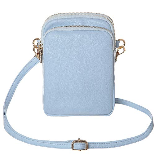 Blue Womens Wallet (HAIDEXI Lightweight Small Crossbody bag Cell Phone Purses Wallet for Women (Leather-Light blue))