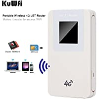 KuWFi 4650mAH Power bank 4G lte WIFI Router Mobile Hotspot Pocket Portable Wireless Unlock Mini LTE WiFi Modem 4G Router with SIM Card Slot