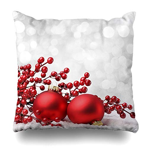 Ahawoso Throw Pillow Cover Decorative Square 20x20 Silver Holly Red Winter Christmas Baubles On Celebrate Snow Holidays Xmas White Happy Jolly Snowflake Zippered Pillowcase Home Decor Cushion Case (Snowflake Zippered Pillowcases)
