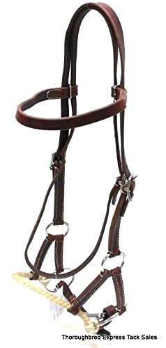 D.A. Brand Dark Oil Leather Browband Side Pull with 5