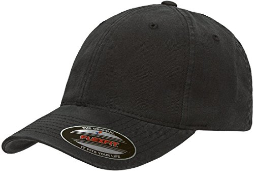 (Flexfit/Yupoong Men's Low-Profile Unstructured Fitted Dad Cap, Black, Small/Medium)