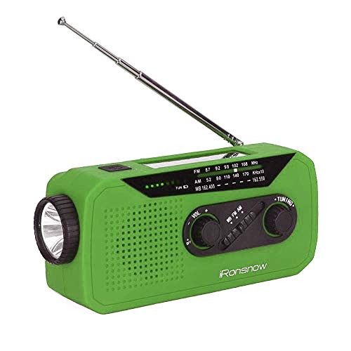 iRonsnow IS-366 Solar Emergency NOAA Weather Radio Hand Crank Windup WB/AM/FM Radios with Earphone Jack & Charging Indicator, 2000mAh Power Bank Phone Charger, 1 Ultra Bright Flashlight for Camping