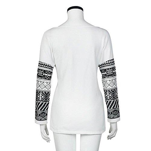 Covermason Mujer Manga larga Casual Camisa Suelto Algodón Camisetas Blanco