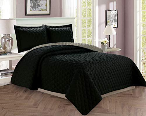 Elegant Comfort Luxury 3-Piece Bedspread Coverlet Diamond Design Quilted Set with Shams All All Season Heavy Weight- Hypoallergenic- Wrinkle & Fade Resistant, King/California King, Black/Gray