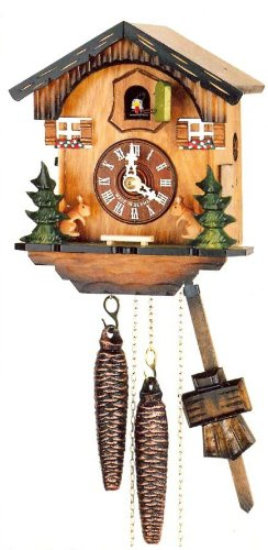 (Original One Day Movement Cuckoo Clock with Moving Squirrels 7.5 Inch)