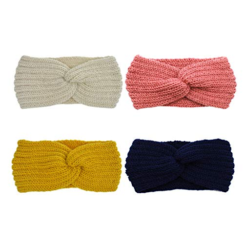 Cross Crochet (DRESHOW Crochet Turban Headband for Women Warm Bulky Crocheted Headwrap (4 Pack Cross Crochet))