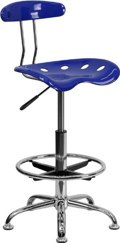 Flash Furniture Vibrant Nautical Blue & Chrome Drafting Stool With  Tractor Seat Lf-215-Nauticalblue-Gg LF-215-NAUTICALBLUE-GG