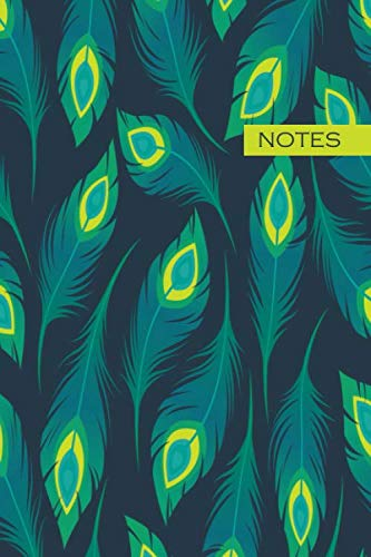 Notes: peacock feather pattern / medium size notebook with lined interior, page number and date, ideal for organization, daily planner, journal, taking notes, - Feathers Peacock Notepad