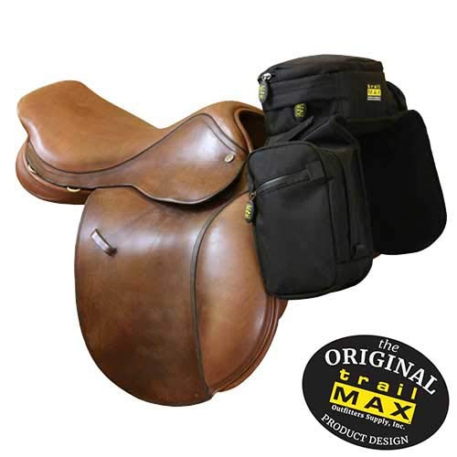 TrailMax English Pommel Horse Saddlebags for Trail-Riding, 6 Zippered Compartments & 2 Water Bottle Holders, PVC-Coated for Weather & UV Resistance, Black