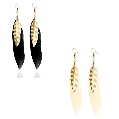 F&U Real Feather Design Indian Style With Golden Leaf Dangle Drop Earrings