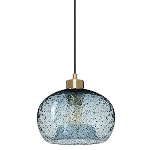 Casamotion Pendant Light Handblown Glass Drop ceiling lights, Rustic Hanging Light Blue Seeded Glass with black sand powder, Brushed Brass Finish