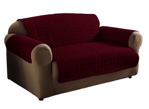 Legacy Decor 2PC Burgundy Soft Micro Suede Couch Sofa and Loveseat Pet Furniture Slip Covers