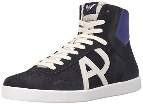 ARMANI JEANS Men's Classic AJ Logo HIGH TOP Sneaker Fashion, Blue, 44 EU/10 M US (Shoes Armani Jeans Men)