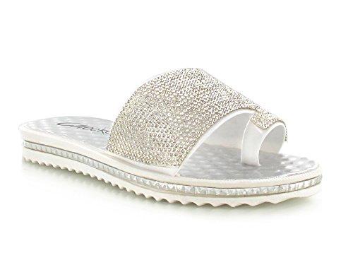 Womens Ladies Bow Floral Diamante Faux Fur Pom Pom Wide Strap Thick Comfy Sponge Platform Sole Slip On Slider Sandals Shoe Sizes 3-8 UK White/Silver Diamante WIN5jv