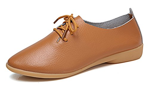 (VenusCelia Women's Sung Oxford Flats Shoe(7.5 M US,tan))