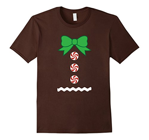 [Mens Gingerbread Man Christmas Funny Outfit Costume T-Shirt Large Brown] (Sleigh Ride Santa Costumes)