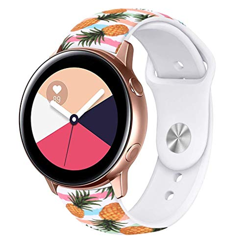 Viwell Silicone Fadeless Pattern Printed Replacement Bands Compatible Galaxy Watch Active 40mm Bands, 20mm Silicone Strap Sports Replacement for Galaxy Watch 42mm Cute Cartoon Pineapple