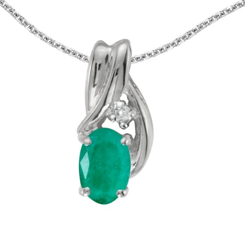 Jewels By Lux 14k White Gold Genuine Birthstone Oval Emerald And Diamond Pendant (0.31 Cttw.) ()