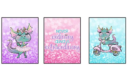 Silly Goose Gifts Never Ordinary Always Extraordinary Trendy Dragon Themed Wall Art Decor (Set of Three) (Sparkle)