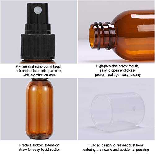 Empty Amber Plastic Spray Bottle for Water Essential Oils Perfumes with Fine Mist Nozzle&Dust Cap,Free 1 Dropper 1 Funnel 4 Sprinkler and 4 Sticker,Easy to Carry,2 PCS 1.7oz/50ml+2 PCS 3.4oz/100ml