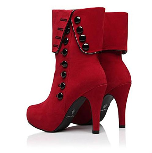 Ankle Boots Womens Booties Sexy Shoes Platform High Heel fold suede Short Boot Red uBxhJTg