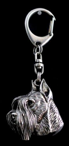 Schnauzer (With Parting), Silver Hallmark 925, Silver Dog Keyring, Keychain, Limited Edition, Artdog by Art Dog Ltd.