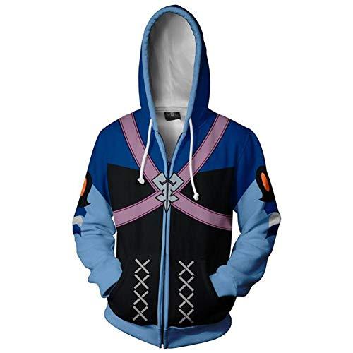 Unizero Kingdom Hearts Men's Hoddie Jacket Halloween Cosplay Costume Outwear Blue