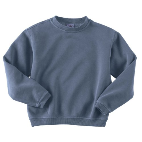 Authentic Pigment 11561Y Youth Pigment-Dyed Fleece Crew-Denim-Medium