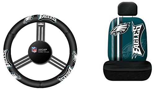 Fremont Die NFL Philadelphia Eagles Rally Seat Cover with Leather Steering Wheel Cover, One Size, Black (Eagles Truck Seat Covers)