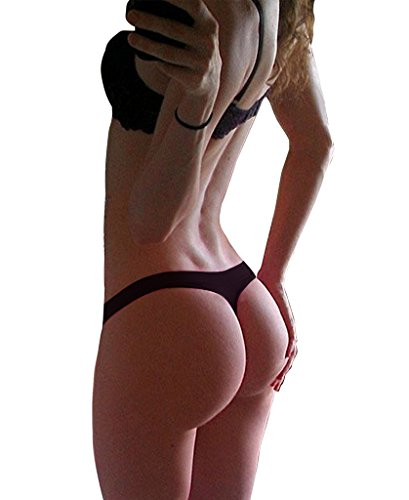 SAYFUT Sexy Women's Bikini Bottom V Cheeky Ruched T-Back Ladies Swimsuit Black - In Made Usa Womens Swimsuits
