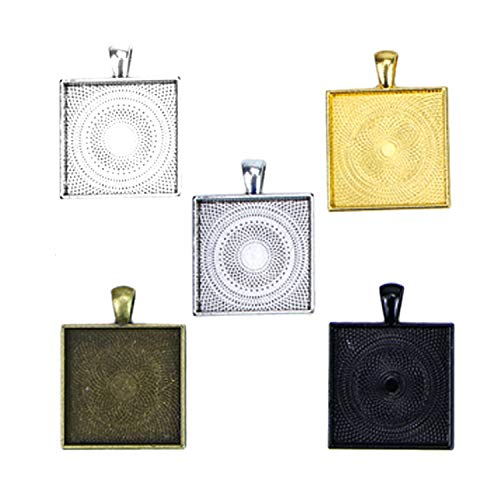 Monrocco 30pcs Square Pendant Blank Tray Antique Alloy Square Pendant Blanks Cameo Bezel Settings (25 Mm Square Bezel)